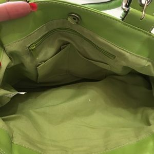 New green leather bag